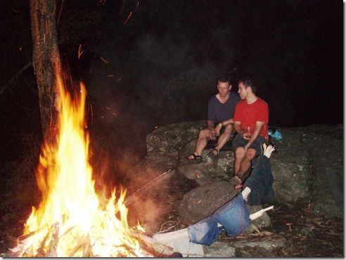 Ian and me having a bit of a chat in front of the fire