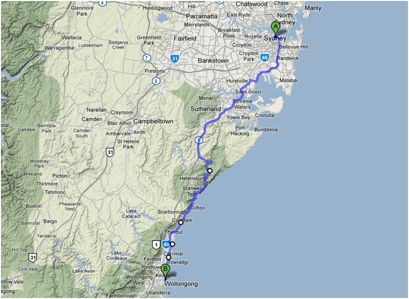 Sydney to gong route map